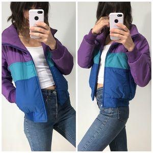 Vintage purple & blue puffer ski jacket